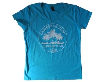 Women Caribbean Hobo...Lifestyle of Less V-neck t-shirt