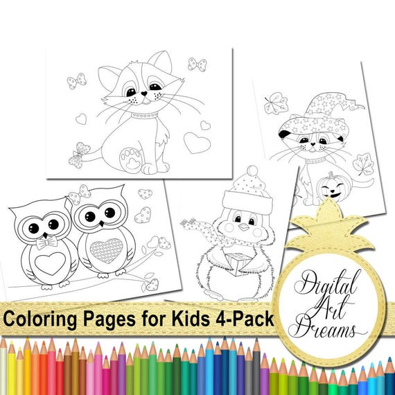 Coloring Pages for Kids Coloring Page PDF JPG Cat Coloring Owl