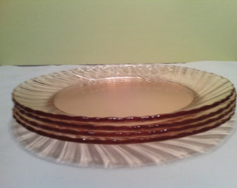 Set of 4 Vintage Rosaline Pink Swirl Luncheon Plates Made by Arcoroc France