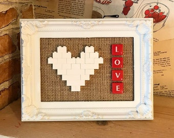 Lego Heart and Scrabble Frame - White