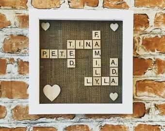 White Family Scrabble Frame