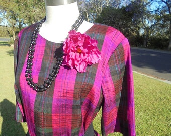 80's does 50's, Handmade Ladies Dress, Bright Pink, Purple and Black Plaid.