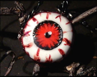 Eye necklace - blood red