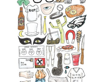 A4 ALWAYS SUNNY in Philadelphia Art Print Colour / Black and White Line Drawing Poster Series Rumham Nightman Dayman Toeknife Kitten Mittens