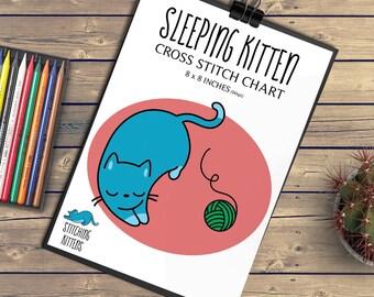 Sleeping Kitten cross stitch chart - cute/cat/pattern/sewing/pet/blue/red/green/dmc/skein/14 HPI/fluffy/nursery decoration/8inch