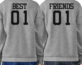 Best 01 And Friend 01 BFF Sweatshirts Friendship Matching Grey Fleece (FSS028)