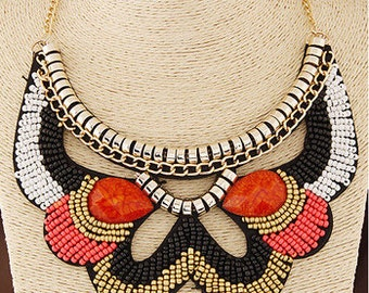 Ornate Beaded Bib Necklace NK7005