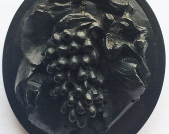 A Beautiful Antique Victorian Vulcanite Carved Mourning Brooch