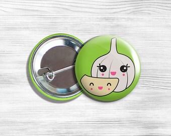 """Kawaii Garlic Vegan Vegetarian Fruit Vegetable Pinback Button 1.75"""""""