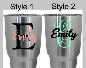 Yeti Decal, Yeti Monogram, Wedding Party Decals, Vinyl Monogram, Water Bottle Decal, Laptop Decal, Car Decal, Yeti Sticker, .99 Shipping
