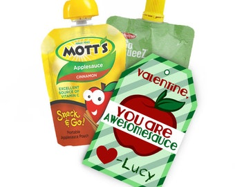 Awesomesauce Apple Sauce Valentine Cards And Tags To Go With Squeeze Treats For