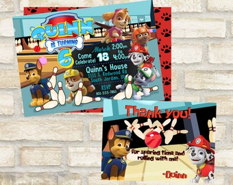 Bowling birthday invitation for paw patrol party theme for invite and thank you cards digital file download to print skye, marshal, chase,