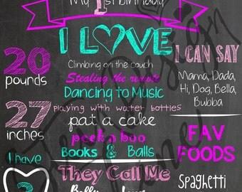 First Birthday Chalkboard Sign, First Birthday Milestone Tracker, First Birthday Digital Art, First Birthday Party, A Year Of Firsts