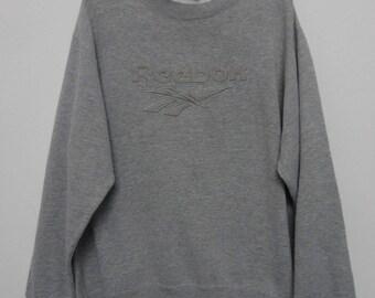 Reebok Sweatshirt VINTAGE 80's 90's Reebok Spell Out Big Logo Crewneck Reebok Gray Pullover Size XL