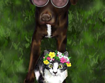 Colorful Custom Two Pet Portrait- DIGITAL