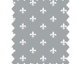 Fitted Cot Sheet, Grey Fleur de Lis