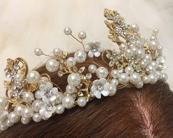 KAREN - Gold & Pearl Bridal Wedding Tiara Crown