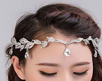 LUCINDA - Silver Forehead Grecian Style Hair Piece