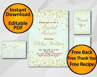 Bridal Shower Invitation set Instant Download gold confetti turquoise Editable SALE 60% OFF free recipe free thank you free back X325t4