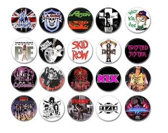 80's Sleaze, Hair Metal bands badges/buttons (la guns, poison, kix, ratt, skid row,  and more )
