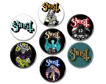 7 x Ghost BC band buttons, badges (size: 1', 25mm)