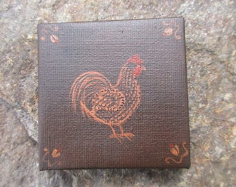 Original Miniature Primitive painting Rooster Old Country Flair