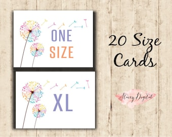 "Home Office Approved DIGITAL LLRoe Size Cards, Sizing Chart 5 x 7"" Printable -"