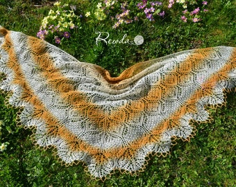 Summerly, scarf, shawl, hand-knitted large XXL