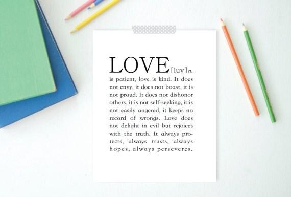 Love Print, Dictionary print, 1 Corinthians 13, Instant Download