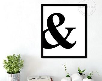 Ampersand Printable Wall Art, And Typography, Minimalist Type Art, Scandinavian, Affiche Scandinave, Black & White Art, Digital Print Design