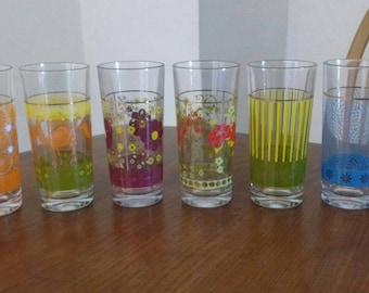 Set of 6 Colourful Vintage Glasses