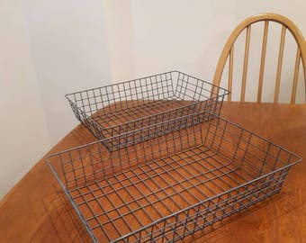 Vintage Offfice Desk Wire Trays Baskets