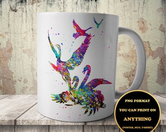Flying swans, Animal print, Birds, print on anything, image on transparent background, digital file, Watercolor, printable wall art (102)