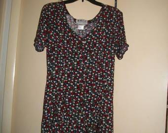 Vintage Black, Multi-Color Floral Print Shorts Romper Size 9/10
