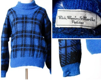 Vintage Women's Sweater Wool Mohair Nylon - 80s Blue Black Medium M