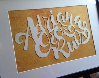 Letters cut into paper, based on calligraphy. Decorative silhouette. Gift for baby. Birthday gift. Gift for weddings.