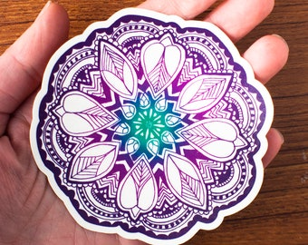 Purple ombre flower mandala sticker