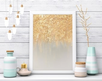 Blue Gold Leaf Painting, Gold Leaf Poster, Brushed Gold, Dipped Gold, Abstract Art, Gold Leaf Art, Art Print, Wall Art, Blue and Gold