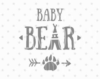 Baby Bear SVG Baby Bear Svg File Baby Svg File Baby Svg Bear Family SVG Silhouette Indian svg Aztec svg T-Shirt Design Newborn svg New Baby