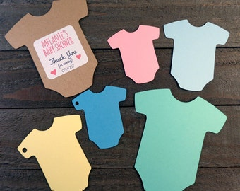 Baby Bodysuit Shower Favor Tags 30 Blank Cardstock One Piece Creeper Shape for Cupcake Toppers, Gifts, Placecards - Choose Size & Style