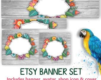 CUSTOM Floral Etsy Banner Set - Customized Wood Banner or DIY - Avatar, Icon, Cover & Banner - DIY Blank Banner