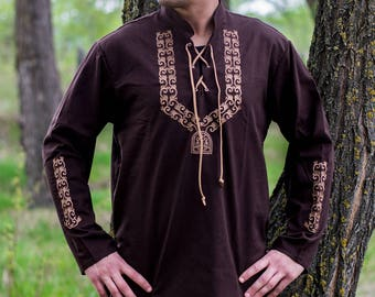Medieval shirt embroidered, laced Bawdry mouth LARP, fantasy, 3 colour all size