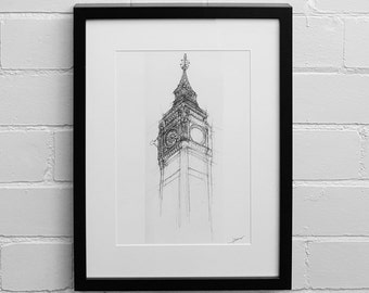 Big Ben, London, Drawing Print, Art Print, London Skyline, Architectural Drawing, Sketch, Illustration Print