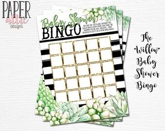 Baby Shower Bingo, Mint Baby Shower Games, Baby Shower Game, Shower Games, Succulent Baby Shower Games, Gender Neutral Shower - Willow