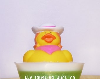 Cowgirl Rubber Ducky Soap, Cotton Candy, Shea Butter Glycerin Soap, Laughing Duck, Toddler Gift Idea, Christmas Toy, Stocking Stuffer
