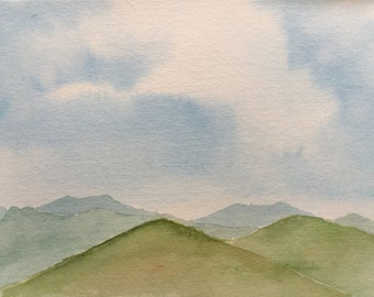 "Appalachian mountains, original 6""x9"" watercolor painting"