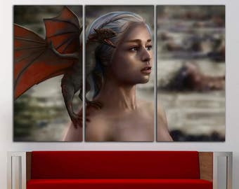 Daenerys wall art Daenerys wall decor Daenerys print Daenerys canvas Game of Thrones Canvas Game of Thrones print Game of Thrones wall art