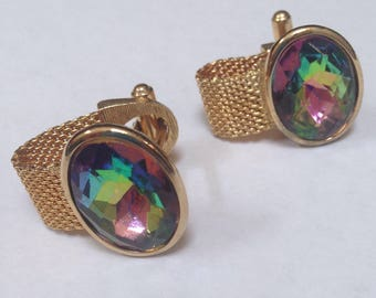 Beautiful Vintage 1970's Mesh Wrap Cufflinks Gold Tone with Flashy Multi Colored Faceted Cut Glass Center, Mens Jewelry, Retro Vegas Style