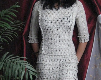 Crocheted Lace Dress with 3/4 Length Sleeves - Made to Order