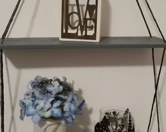 Double Pallet Shelf, Hanging Shelf, Reclaimed Wood Shelf, Double Shelf, Swing Shelf, Suspended Shelf